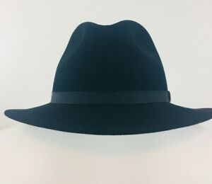 Wilton Country Gentlemen Lite Felt 100% Wool Black Fedora Hat Size Large