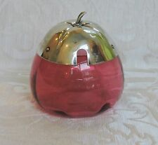 Cranberry Glass HoneyJam Pot Silver Plate Lid Vasetto in vetro Cranberry