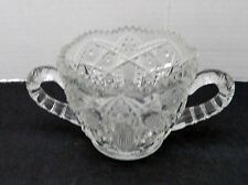 McKee Prescut EAPG Glass Crystal Clear Open Sugar Bowl USA Saw Tooth Edge VTG
