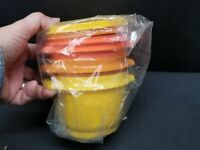 3 UNUSED Autumn Harvest Tupperware 2 Cup Servalier Bowls w/ Lids 886, 812 NOS