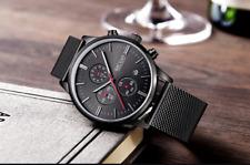 Mens Wristwatch Chronograph Movement Quartz Luxury Mens Watch Stainless Steel