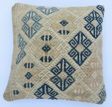 Handwoven Vintage Kilim Cover, Couch Throw  Boho Pillowcase İnterior, 16''x 16''