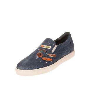 RRP€675 DSQUARED2 Denim Sneakers EU40 UK6 US7 Distressed Painted Splatter Effect