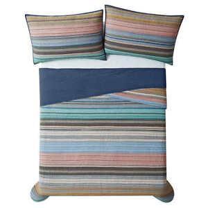 Retro Chic, 3-piece Reversible Striped - Solid Quilt Set (Choose Size + Color)