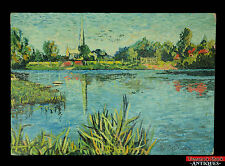 Original 1972 Impressionist Oil Painting Artist Woodworth Chapel Church Lake L1Z