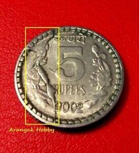 5 rupees 2002 copper nickel rare Root variety die cud - die break error coin