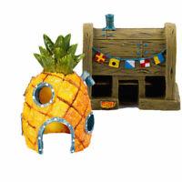 Aquarium Ornament Fish Tank SpongeBob Pineapple Resin House Decorations X8F2