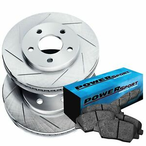 For 2008-2010 Volvo V70, S80 Front Sport Slotted Brake Rotors+Ceramic Brake Pads