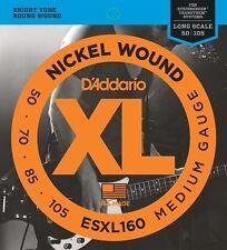 "D'Addario ESXL160 Double Ball End Bass Strings 50-105 Scale Length Up To 36 1/4"""