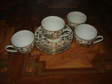 ANTIQUE CZECHOSLOVAKIA EPIAG 4 PORCELAIN CUPS&SAUCERS WITH FIGURES IN CARTOUCHES