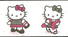 Wallpaper Border Hello Kitty Dress Up Black White and Pink