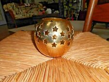 """Vintage Shiny Brass Round Candle Holder Cut Out Stars Made In India 4-1/2"""""""