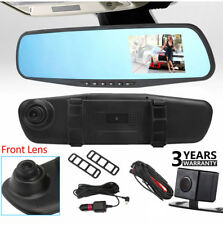 "HD 1080P 4.3"" Car DVR Front &Rear Dash Camera Dual Lens Rearview View Mirror Cam"