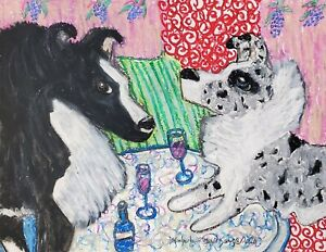 SHELTIE Bistro ACEO PRINT Mini Folk Pop Dog Art Card 2.5 X 3.5 KSAMS Collectible