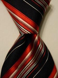 ERMENEGILDO ZEGNA Mens 100% Silk Necktie ITALY Luxury STRIPED Blue/Red/White EUC