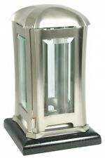 Grablaterne Edelstahl matt mit poliertem Granitsockel schwarz Grablampe
