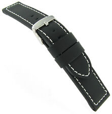 6cea5762f3b 18mm Hadley Roma Stitched Black Silicone Layered Over Leather Watch Band