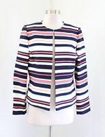 Tahari ASL Levine Blue Multi Color Striped Collarless Blazer Suit Jacket Size 8P