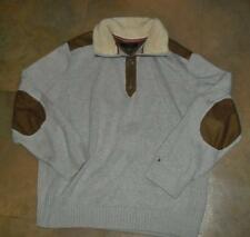 Tommy Hilfiger sweater mens sz 2XL/ XXL w/ fur on neck and elbow patches MINT