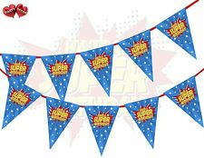 Happy Birthday Super Hero Style Blue & Red Theme Bunting Banner party decoration