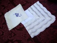 Two Vintage White Cotton Embroidered Handkerchief Wedding Batiste Cambric Fabric