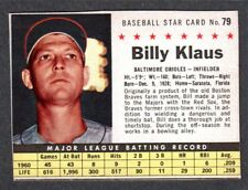 1961 POST CEREAL #79  Billy Klaus  BALTIMORE ORIOLES  ( Box Version ) EX-MINT  B