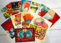 Postcards Greeting Russian postcards Lot 12 pcs Vintage posted Postcard 60-80s