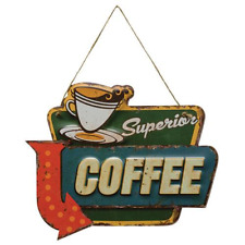"Vintage Retro ""Superior Coffee"" Tin Advertising Sign"