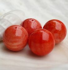 Large Natural Fossil Red Orange Coral Beads Round Drilled 16 MM (4)