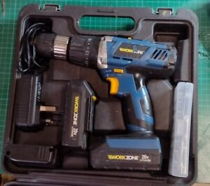 WorkZone 20v Cordless Hammer Drill, two batteries and charger, fully working