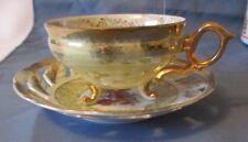 HR CUP & SAUCER SHINY LUSTER FINISH OPEN LACE SAUCER HEAVY GOLD 3 LEG PERFECT