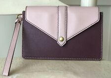 FOSSIL Women's Envelope Wristlet Flap Clutch Wallet Pink Plum Faux Leather Vegan