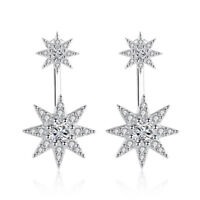 925 Sterling Silver Crystal Star-Light Stud Earrings For Fashion Women Jewelry