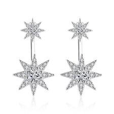 925 Sterling Silver Crystal Star-Light Stud Earrings For Fashion Women Jewelry