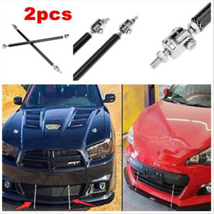 2X Carbon Fiber Look Adjustable Front Bumper Splitter Strut Support Rod Bars