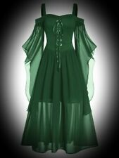 New Green Gothic Corset Front Medieval Butterfly Sleeve Dress size 5XL 26 28 30