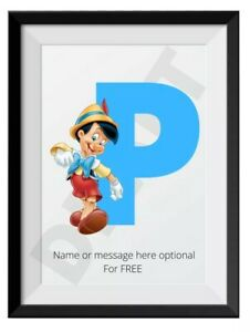 Personalised A4 Print Disney Pinocchio Name, Baby, Kids, Initial, Gift, Wall Art