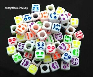100 Assorted Emoji Faces Smile Frown Mixed Colors 6mm Square Cube Acrylic Beads