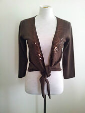 Warmth & Glamour! Chelsea Design size M brown wrap knit in excellent condition