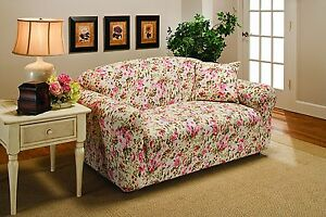 MARKDOWN-PINK FLORAL-COVERS--SOFA COUCH  LOVESEAT CHAIR RECLINER---STRETCHES-- D