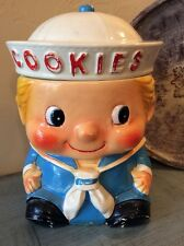 Antique Rare Sailor Boy Blonde Hair Porcelain Cookie Jar Japan Vintage