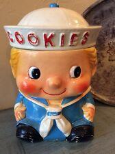 Antique Rare Sailor Boy Blonde Hair Porcelain Cookie Jar Japan Vintage