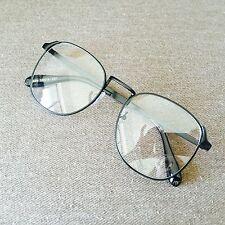 Noir surdimensionné cadre en métal vintage geek old school lunettes mode 60s 80s