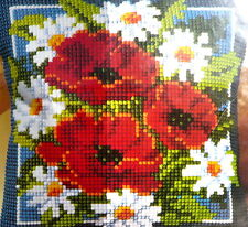 chunky cross stitch tapestry kit cushion, Poppies & Daisy flowers by Vervaco
