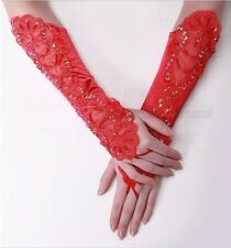 Gloves Bridal Red Fingerless Lace Sequin and Satin Wedding Fancy Dress - UK