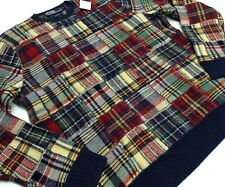Vtg Polo Ralph Lauren Wool Glen Plaids Patchwork Knit Sweater Pullover Crewneck