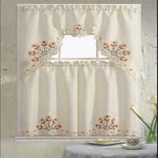 BH Home Floral Embroidered 3-Piece Kitchen Window Curtain Jackie Orange
