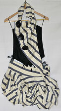 Kelly Ewing Designer Black Cream & Blue Stripe Corset & Skirt Outfit - S / M