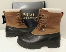 Polo Ralph Lauren Shearling Landen Waterproof Suede Leather Rubber Boots Shoes 8