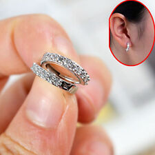 Women Fashion Crystal 925 Sterling Silver Plated Very Small Hoop Earrings 10-10